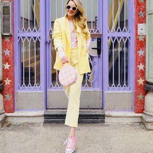 Zara Pastel Yellow Corduroy Pants Suit